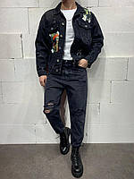 Джинсы мужские МОМ чёрные широкие рваные стильные молодёжные