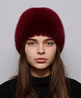 Женская вязаная норковая шапка шарик коса, фото 1