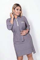Модное женское платье-рубашка до колен большого размера до 54-го серое