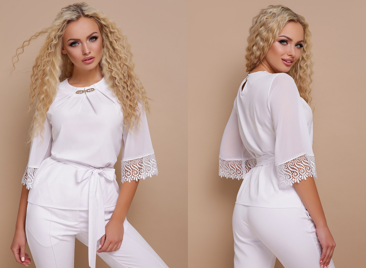 Белая классическая блуза из шифона свободного кроя GL-КАРЛА
