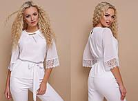 Белая классическая блуза из шифона свободного кроя GL-КАРЛА, фото 1