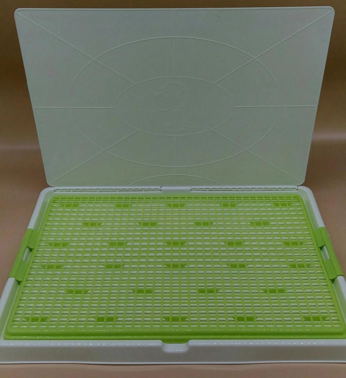 Туалет для собак и щенков под пеленку бело-зеленый 44,5*33,8*2,5 см