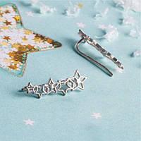 Серебряные серьги каффы с большими звездочками