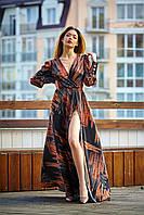 Женское, вечернее платье, длина макси, ткань шелк Армани, размеры 42-44,46-48 (1243,1) коричневый , сукня