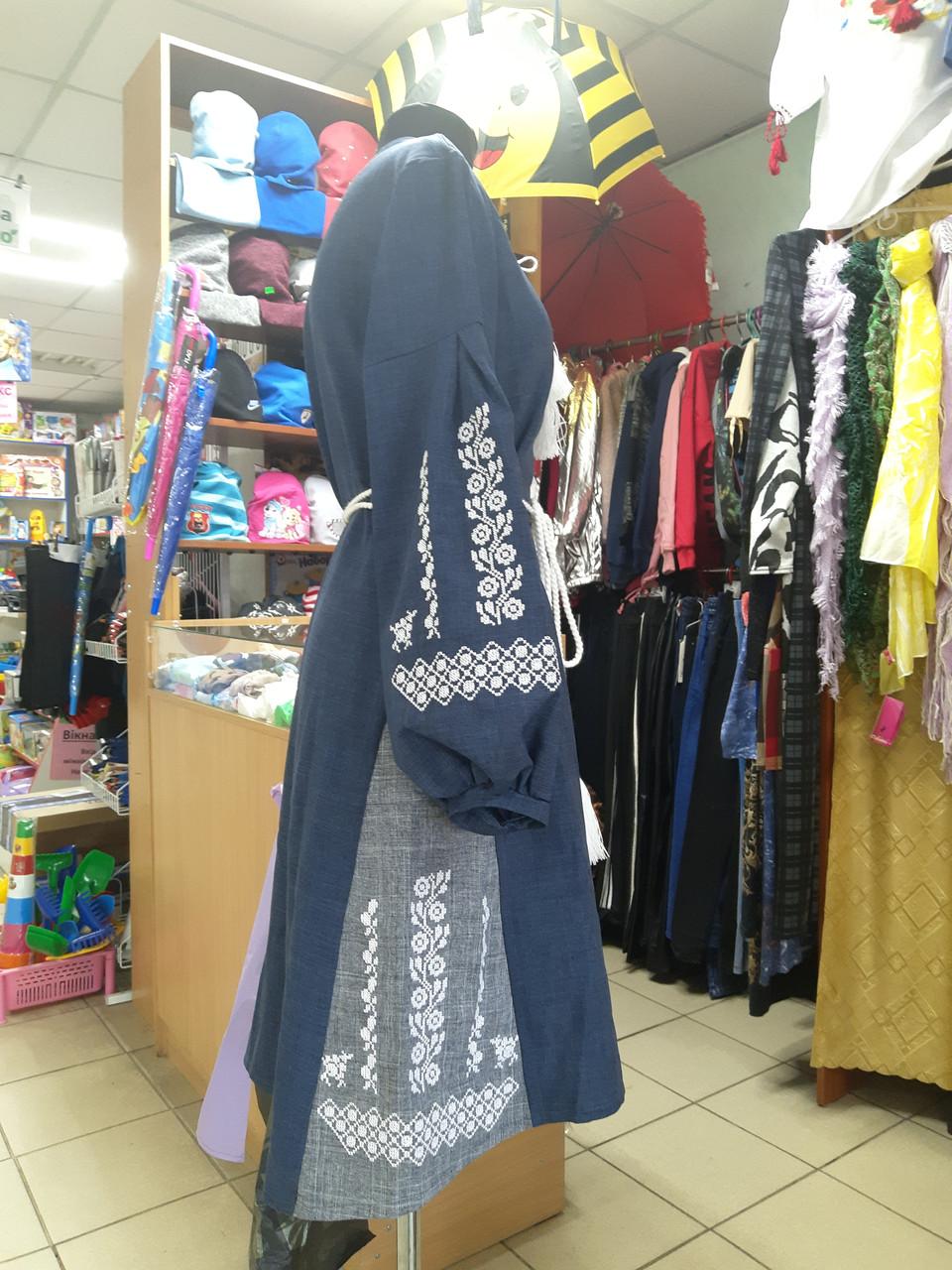 Женское платье вышиванка из льна Двойной пояс р.42 - 52