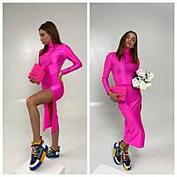Женское платье миди из бифлекса с глубоким разрезом яркие сочные Smld4134
