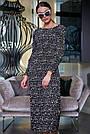Чёрное шифоновое женское платье в горох, фото 2