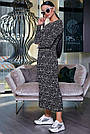 Чёрное шифоновое женское платье в горох, фото 4