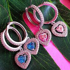 Серебряные серьги в виде сердца - Серьги сердечки серебро - Серебряные серьги с розовым и голубым камнем