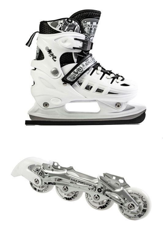 Ролики-коньки Scale Sport. White (2в1), размер 34-37