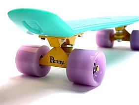 Пенни борд, Penny Board. Бирюзовый цвет. Светящиеся колеса., фото 2
