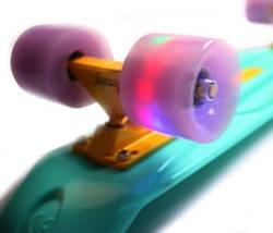Пенни борд, Penny Board. Бирюзовый цвет. Светящиеся колеса., фото 3