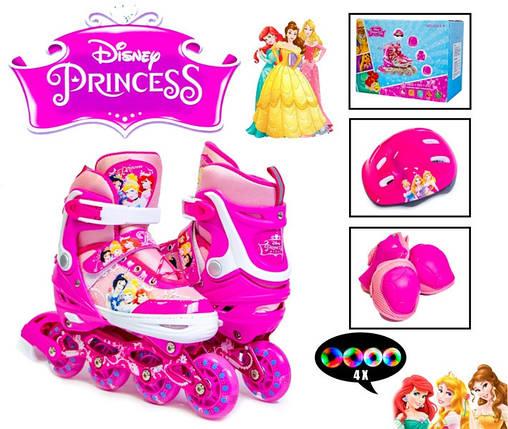 Комплект роликов Disney. Princess. р.29-33. Все колеса светятся!, фото 2