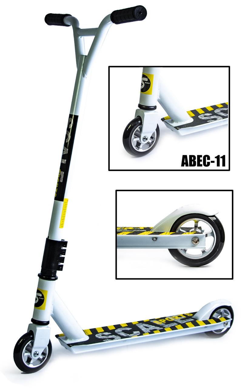 Трюковый самокат Scale Sports Extrem Abec-11 белый