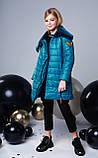 Удлиненная куртка, эко мех, полклад микрофлис, морская волна, Моне, р.146,152,158,164, фото 2