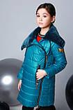 Удлиненная куртка, эко мех, полклад микрофлис, морская волна, Моне, р.146,152,158,164, фото 3