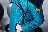 Удлиненная куртка, эко мех, полклад микрофлис, морская волна, Моне, р.146,152,158,164, фото 4