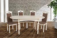 "Стол обеденный ""Бруно"" 1290(+340)*740 белый, бежевый, фото 1"