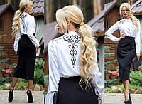 Женская белая блуза с вышивкой        ST-663-а, фото 1