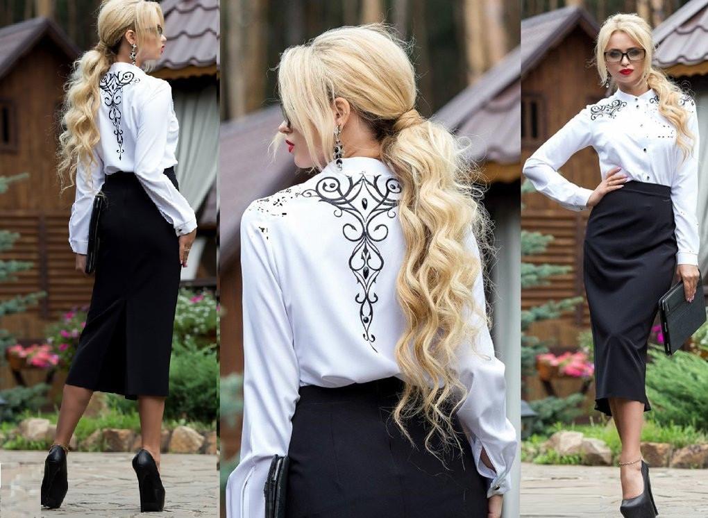Женская белая блуза с вышивкой        ST-663-а