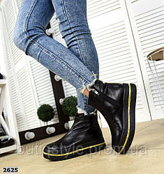 Женские черные ботинки натуральная кожа с желтыми вставками Деми