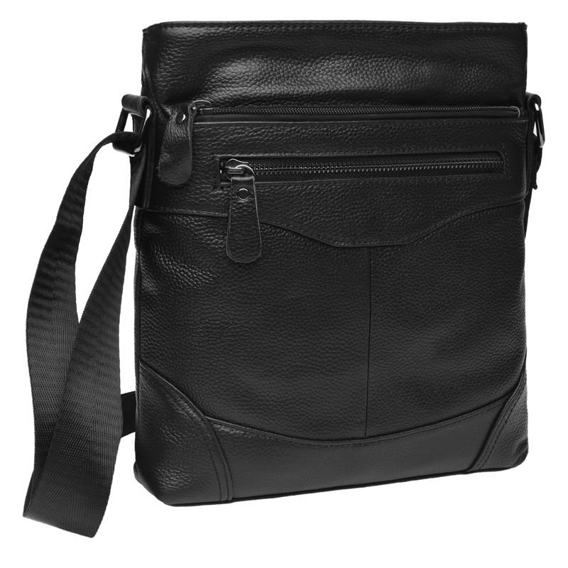 Мужская кожаная сумка через плечо Borsa Leather K17801-black