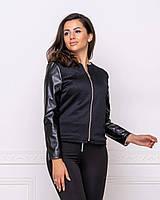 Тонкая черная молодежная  куртка