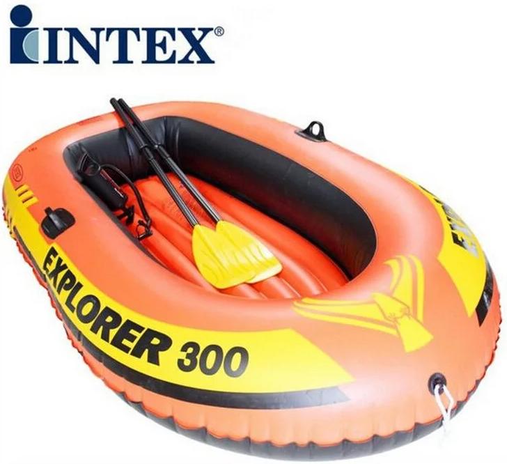 Трехместная надувная лодка Intex Explorer 300 Set с веслами и насосом 58332