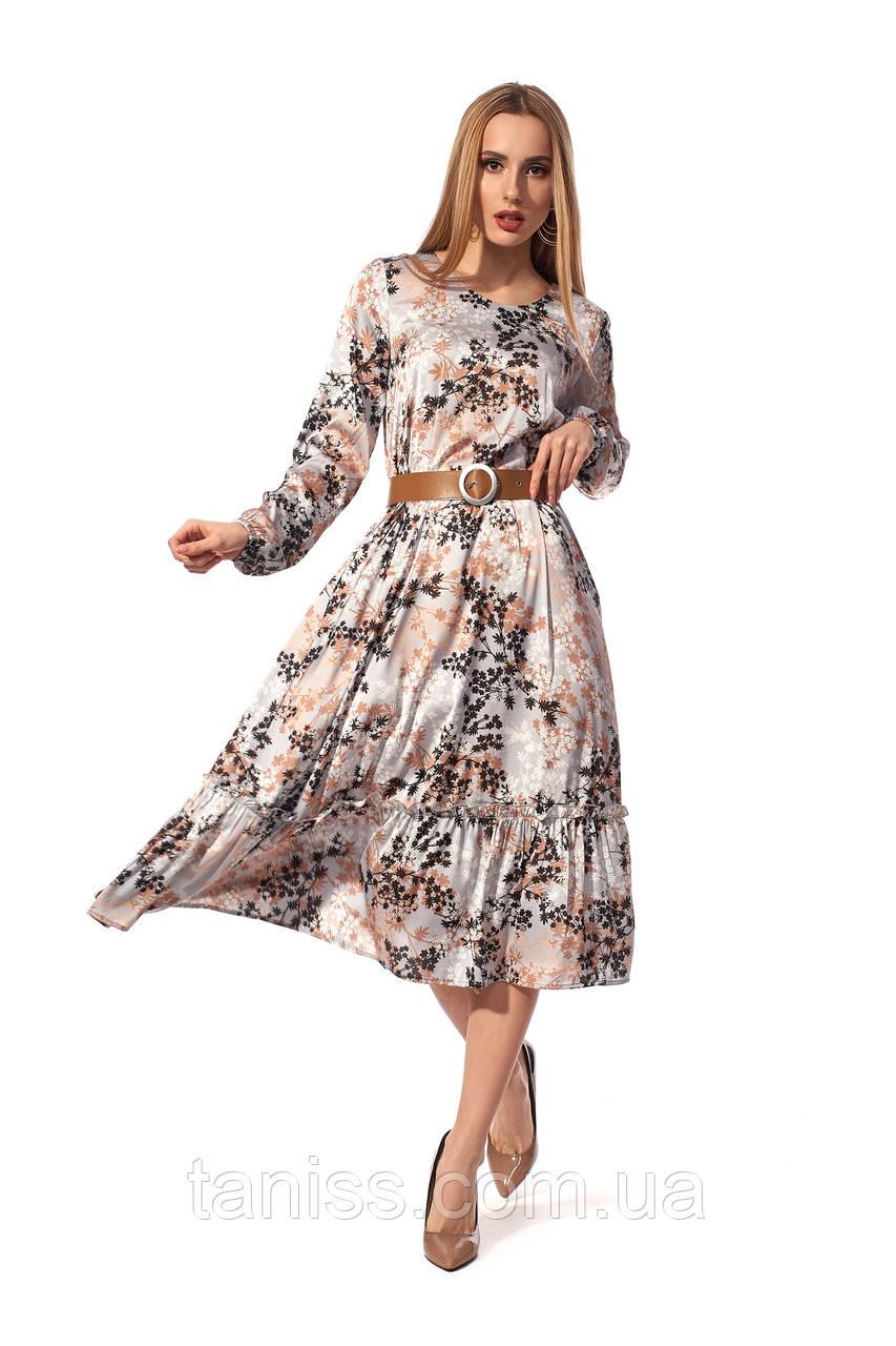 Женское, весеннее,нарядное платье, длина миди, ткань шелк Армани, размеры 42,44,46 серый, сукня