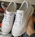 White star! Кроссовки белые женские высокая подошва из натуральной кожи., фото 6