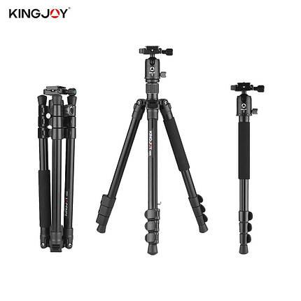 Штатив  для фото и видео съемки Kingjoy G555 +G0 PRO (трипод + монопод 2 в 1), фото 2