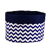 Мешок (корзина) для хранения, Ø45 * 40 см, (хлопок), с отворотом (зигзаги синие / темно-синий), фото 2