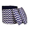 Мешок (корзина) для хранения, Ø45 * 40 см, (хлопок), с отворотом (зигзаги синие / темно-синий), фото 4