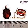 Серьги Zolota, размер 17х10 мм, гранатово-красные фианиты (куб. цирконий), вес 5 г, позолота PO, ЗЛ00890 (1), фото 3