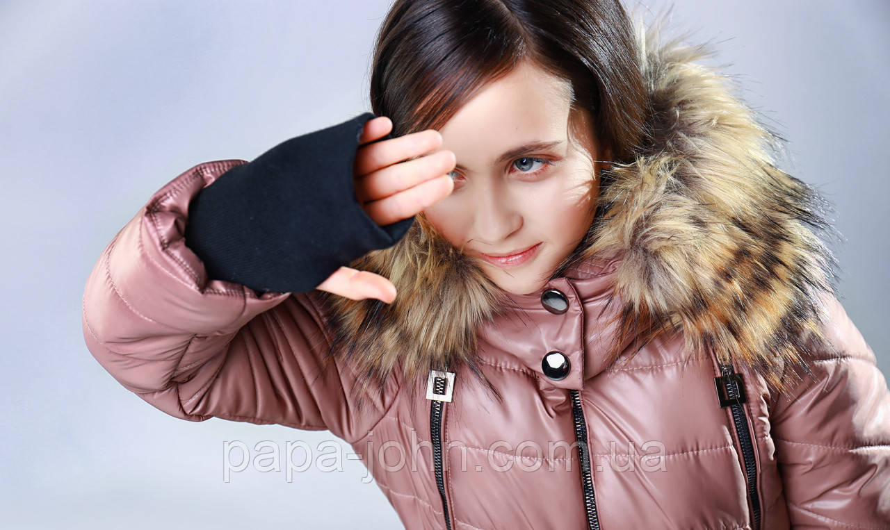 Курточка плащевка, эко мех енот, перчатка на один палец, подклад микрофлис, капучино, Моне, р. 140,146,152,164