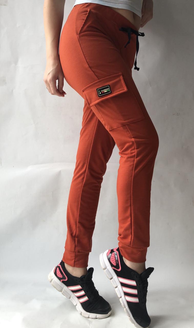 Спортивные брюки с накладными карманами N° 125 морковный