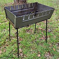 Мангал-чемодан складной на 8 шампуров стальной (2 мм)