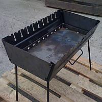 Мангал-чемодан складной на 10 шампуров стальной (2 мм)