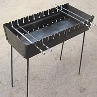 Мангал-чемодан складной на 12 шампуров стальной (2 мм)