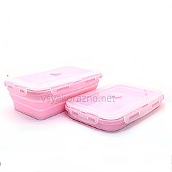 Складной ланч бокс - пищевой контейнер силиконовый / Складаний ланч бокс - харчовий контейнер (розовый)