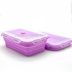 Складной ланч бокс - пищевой контейнер силиконовый / Складаний ланч бокс - харчовий контейнер (сиреневый)
