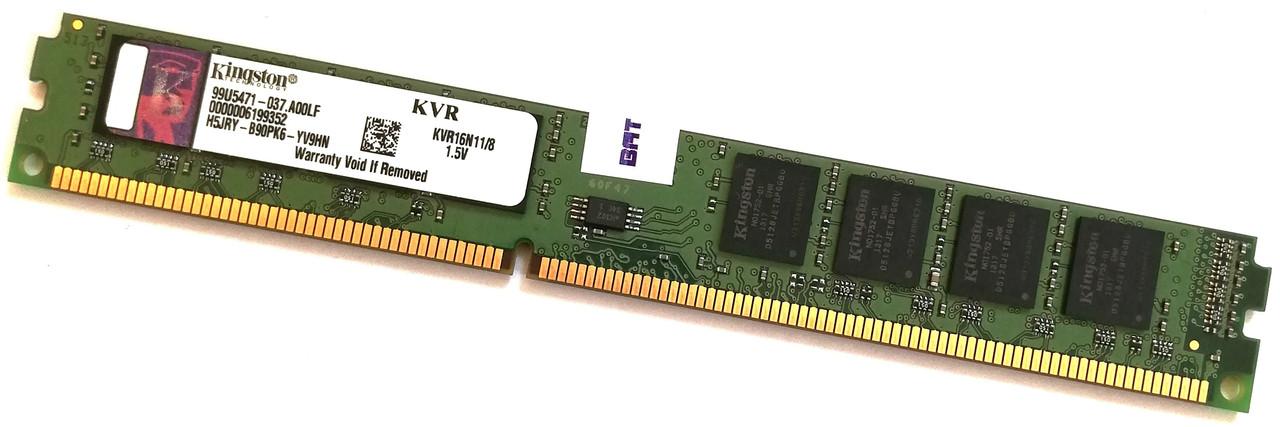 Оперативная память Kingston DDR3 8Gb 1600MHz PC3 12800U VLP CL11 (KVR16N11/8) Б/У