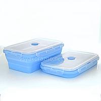 Складной ланч бокс - пищевой контейнер силиконовый / Складаний ланч бокс - харчовий контейнер (голубой)