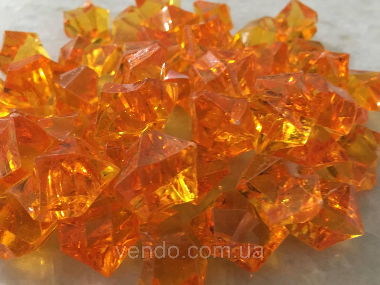 Кристаллы камни декоративные осколки 1,5х1,5 см оранжевый