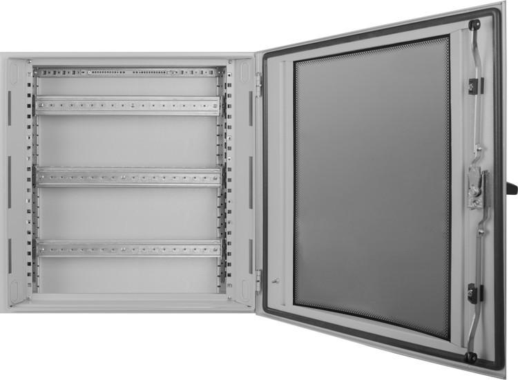 Корпус металевий IP55 навісний на 48 модулів з монтажною панеллю і склом