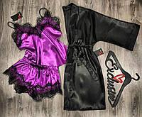 Набор халат+майка+шорты домашняя одежда женская.
