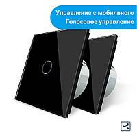 Комплект Сенсорных проходных выключателей Livolo Wi-Fi управление черный (VL-C701SZ/C701S-12), фото 1