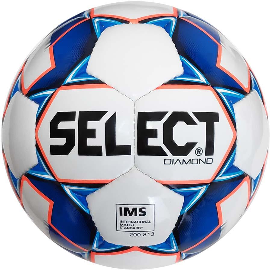 Мяч футбольный Select Diamond IMS New, бело-синий, р. 5, ламинированный