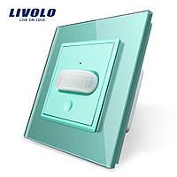 Сенсорный выключатель с датчиком движения Livolo зеленый стекло (VL-C701RG-18), фото 1