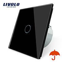 Сенсорный выключатель Livolo для улицы с защитой от брызг IP44 черный стекло (VL-C701IP-12), фото 1